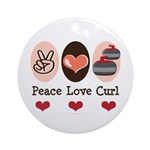 Peace Love Curl Curling Ornament (Round)