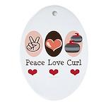 Peace Love Curl Curling Oval Ornament