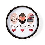Peace Love Curl Curling Wall Clock