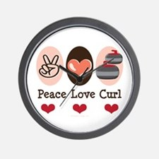 Peace Love Curl Curling Wall Clock