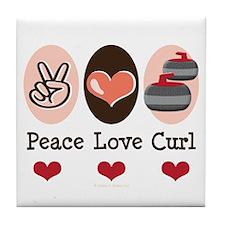 Peace Love Curl Curling Tile Coaster