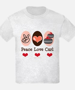 Peace Love Curl Curling T-Shirt
