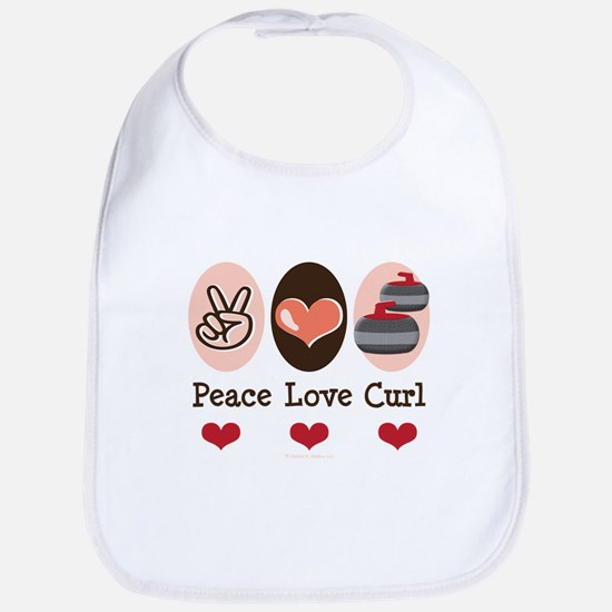Peace Love Curl Curling Bib