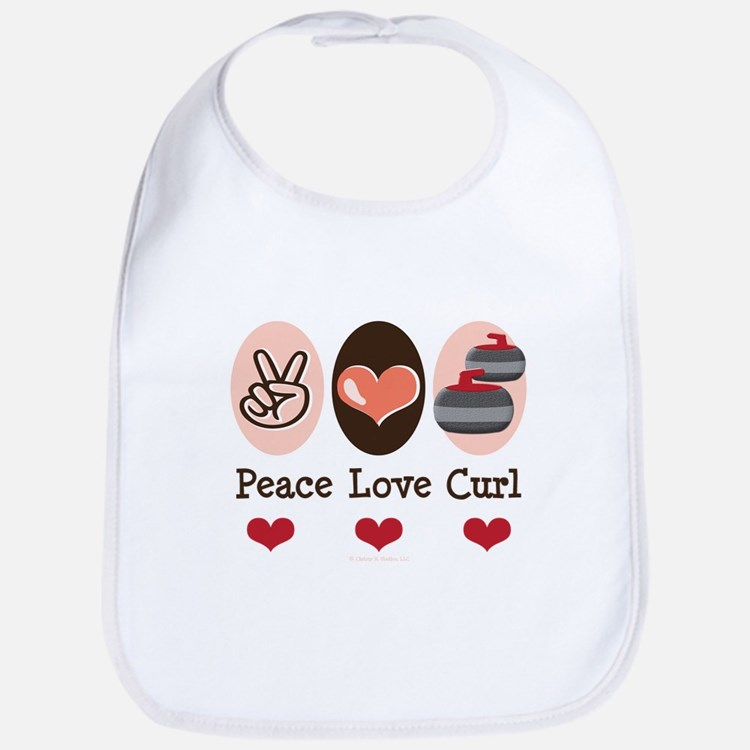 Peace Love Curl Curling Bib