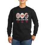 Peace Love Curl Curling Long Sleeve Dark T-Shirt