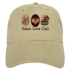 Peace Love Curl Curling Baseball Cap