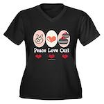 Peace Love Curl Curling Women's Plus Size V-Neck D
