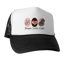 Peace Love Curl Curling Trucker Hat