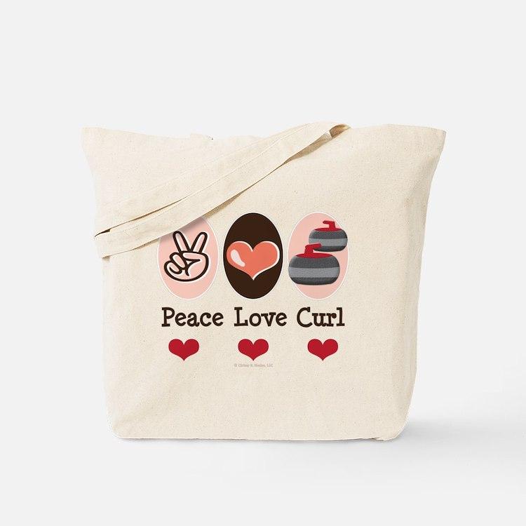 Peace Love Curl Curling Tote Bag