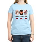 Peace Love Curl Curling Women's Light T-Shirt