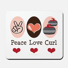 Peace Love Curl Curling Mousepad