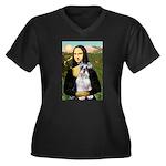 Mona Lisa/Schnauzer (#2) Women's Plus Size V-Neck