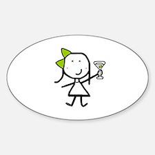 Girl & Martini Oval Decal