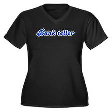 Retro Bank teller (Blue) Women's Plus Size V-Neck
