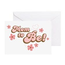 Retro Mom To Be Pink Greeting Card