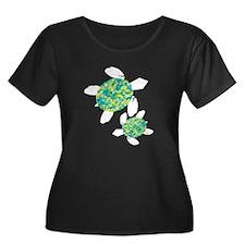 Sea Turtles Women's Plus Size Scoop Neck Dark T-Sh