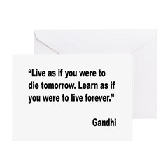 Gandhi Live and Learn Quote Greeting Card