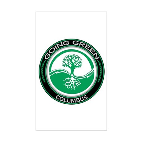 Going Green Columbus Tree Rectangle Sticker