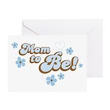Retro Mom To Be Blue Greeting Card