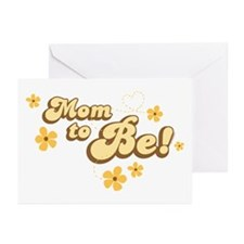 Retro Mom To Be Yellow Greeting Cards (Pk of 20)