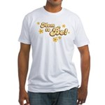 Retro Mom To Be Yellow Fitted T-Shirt