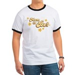 Retro Mom To Be Yellow Ringer T