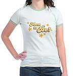 Retro Mom To Be Yellow Jr. Ringer T-Shirt