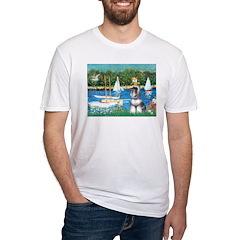 Sailboats /Min Schnauzer Fitted T-Shirt
