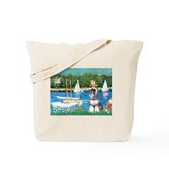 Sailboats /Min Schnauzer Tote Bag