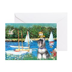 Sailboats /Min Schnauzer Greeting Card