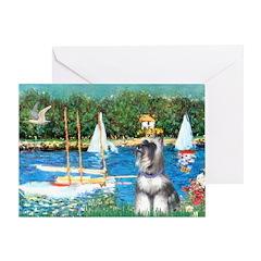 Sailboats /Min Schnauzer Greeting Card