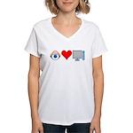 Eye Heart Computers Women's V-Neck T-Shirt