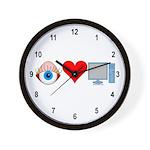 Eye Heart Computers Wall Clock