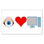 Eye Heart Computers Rectangle Sticker 10 pk)