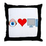 Eye Heart Computers Throw Pillow