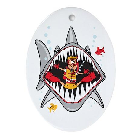 Shark Attack Oval Ornament
