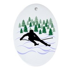 Ski Moguls Oval Ornament
