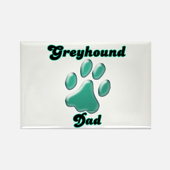 Dad Paw Teal Rectangle Magnet