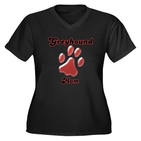 Mom Paw Red Women's Plus Size V-Neck Dark T-Shirt