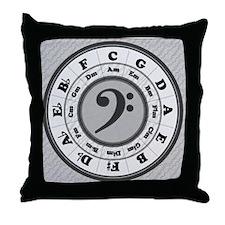 Trad Basic Black Bass Clef Throw Pillow