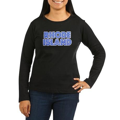 Retro Rhode Island (Blue) Women's Long Sleeve Dark