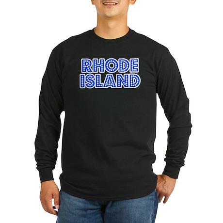 Retro Rhode Island (Blue) Long Sleeve Dark T-Shirt
