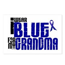 I Wear Blue For My Grandma 6 Postcards (Package of