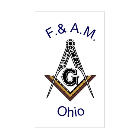 Ohio Square and Compass Rectangle Sticker