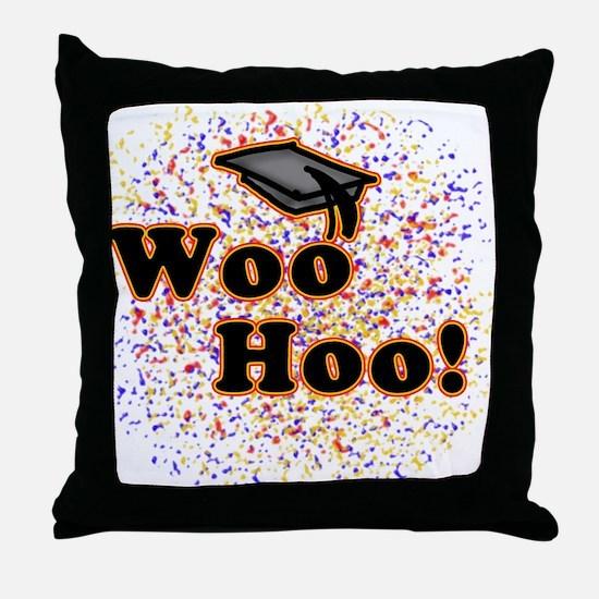 Woo Hoo Confetti Graduation Throw Pillow
