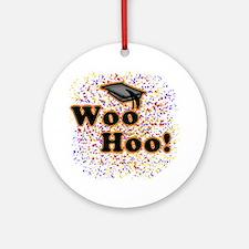 Woo Hoo Confetti Graduation Ornament (Round)