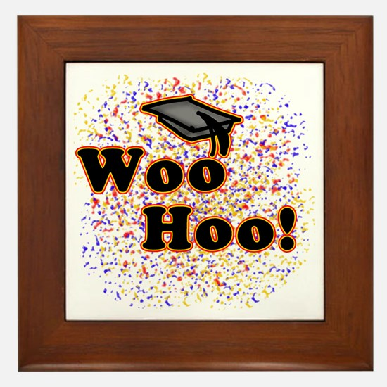Woo Hoo Confetti Graduation Framed Tile