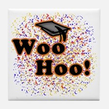 Woo Hoo Confetti Graduation Tile Coaster