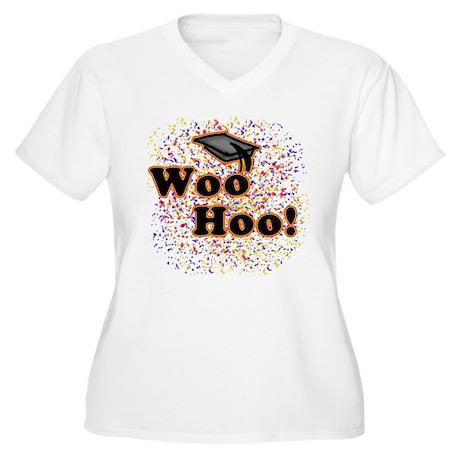 Woo Hoo Confetti Graduation Women's Plus Size V-Ne
