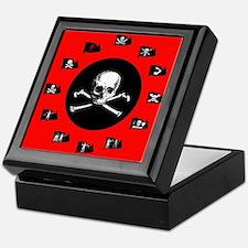 Pirate Flags, Red Jolly Roger Keepsake Box
